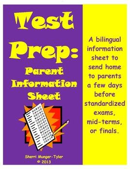 A short-and-sweet parent information sheet to send home just before standardized exams or finals, this handout is full of practical, easy-to-implement ideas parents can use to help their child(ren) be ready for the big day! Presented in both English and Spanish! #teacherspayteachers #middleschoolELA #testprep