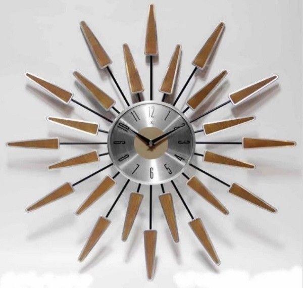 Sunburst Clock Mid Century Modern Wall Decor Vintage Starburst Retro Metal Art #MidCenturyModernWallDecor #Modern