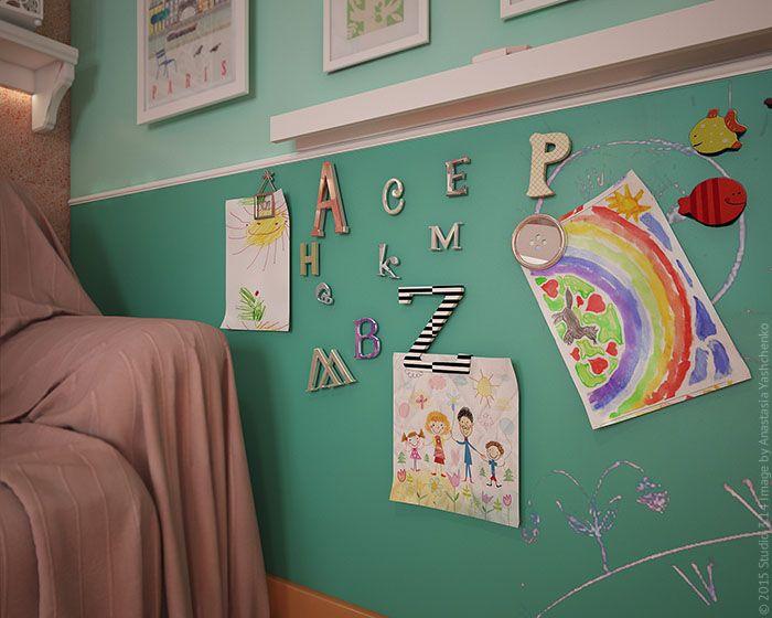 Дизайн детской комнаты для новорожденной девочки. Магнитная краска на стене.