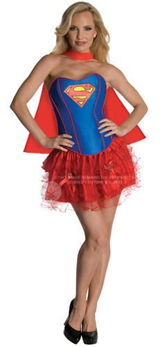 Sexy Supergirl Fancy Dress Ladies Superhero Corset Style Womens Costume UK 6-14