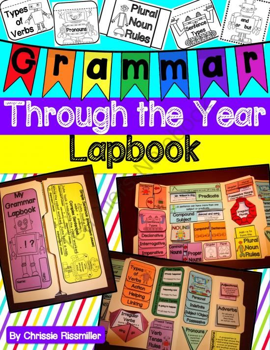 Grammar Lapbook: Through the Year Interactive Kit from Chrissie Rissmiller on TeachersNotebook.com -  (60 pages)  - Blackline masters and photo illustrations for making a year-long grammar lapbook with your students.