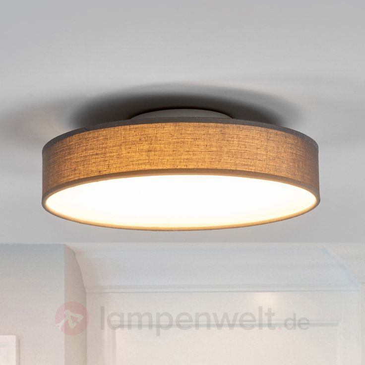 Graue LED-Deckenlampe Saira aus Stoff, 30 cm kaufen | Lampenwelt.de