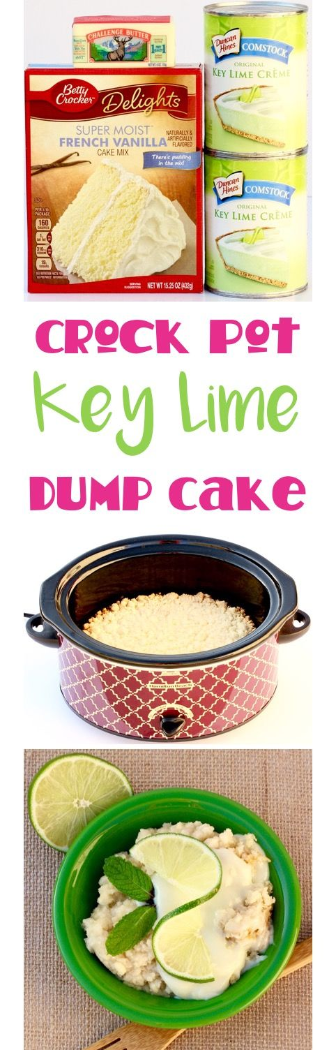 Crock Pot Key Lime Dump Cake Recipe! Just 3 ingredients and you've got Key Lime Heaven in your Slow Cooker... the perfect easy dessert for your next party or cookout! | TheFrugalGirls.com