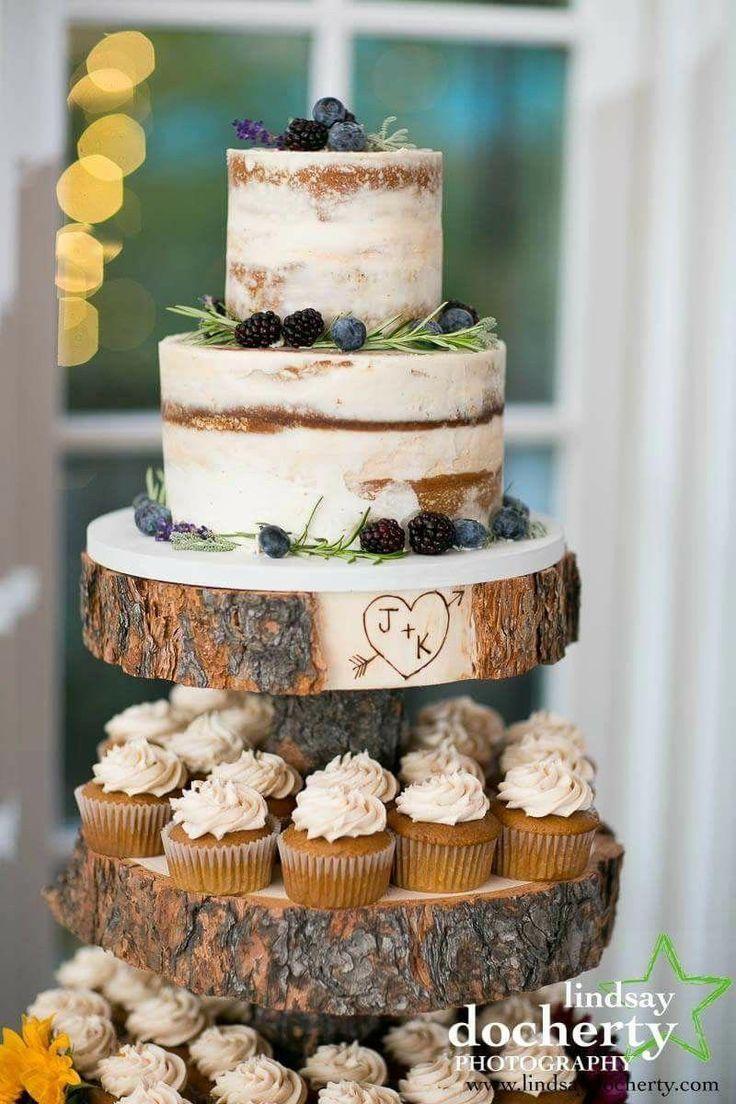 Rustikale nackte Buttercreme-Torte von Bella Manse Wedding Cake Designs #diygi