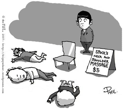 Star Trek Humor | Spock's Neck & Shoulder Massage, Five dollars!