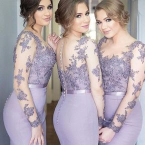 Lilac Lace Mermaid Bridesmaid Dresses with long sleeves