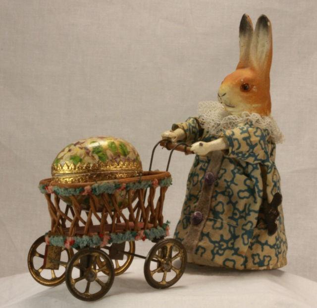 Antique German Wind Up Easter Rabbit Pushing Cart C1910 | eBay