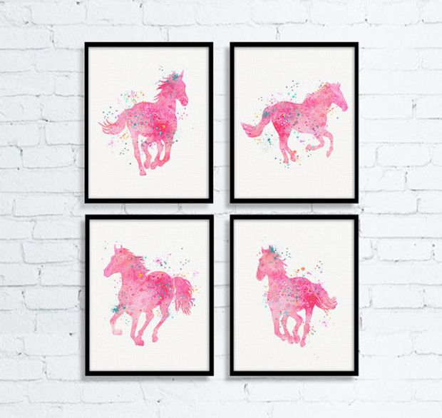 Watercolor Horse Art, Equestrian Girl Art, Girls Room Decor, Horse Painting, Western Girls Room, Baby Girl Nursery, Cowgirl Nursery, Pink