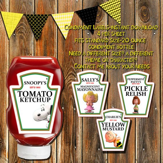 Charlie Brown Condiment Bottle by MyPrintablePartyLine on Etsy