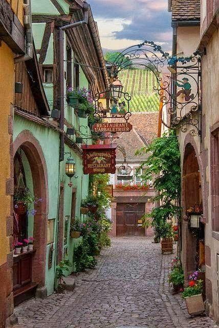 Restaurant L'arbaletrier, Riquewihr , Alsace , France by tammie