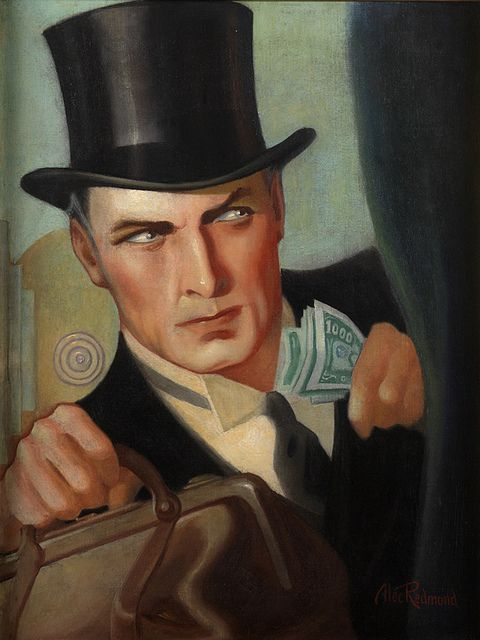 Cover illustration for Real Detective magazine 1932 oil on canvas 24 x 18 in. by Alec Redmond (1902-1975)