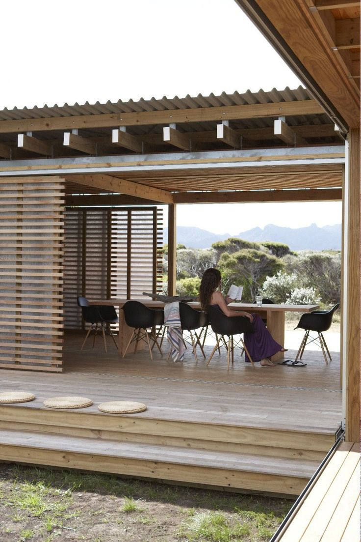 Timms Bach, Beach Shelter by Herbst Architects - I like the insulated roof, ought not to be too hod during the day.
