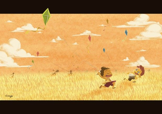 A sky full of kites #kite #afternoon #sky #happy #running #indonesia #boy #ninekyu #illustration