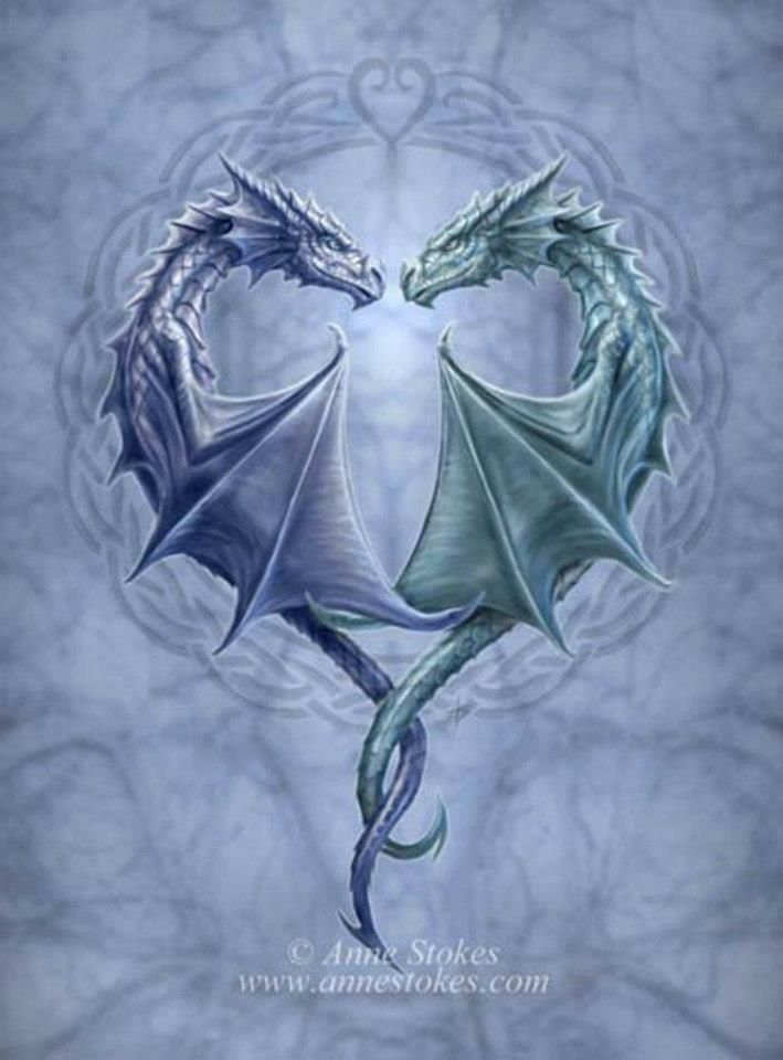 Two Dragons Green & Blue Beautiful picture. Incensewoman