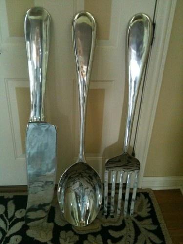 "Large s 3 Silver Fork Knife Spoon Wall Decor Metal Utensil Art 36""H ea New | eBay"