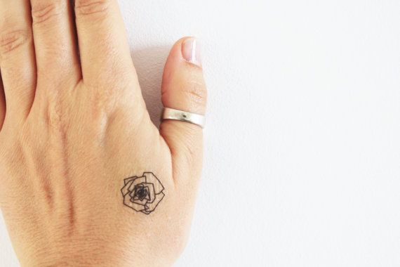 geometric rose temporary tattoo / floral by encredelicate on Etsy
