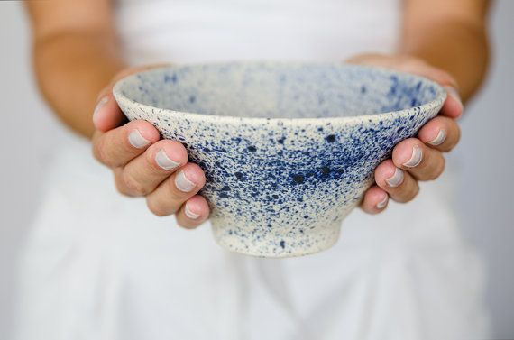 Ceramic bowl, japanese pottery, handmade pottery, blue bowl, cereal bowl, soup…