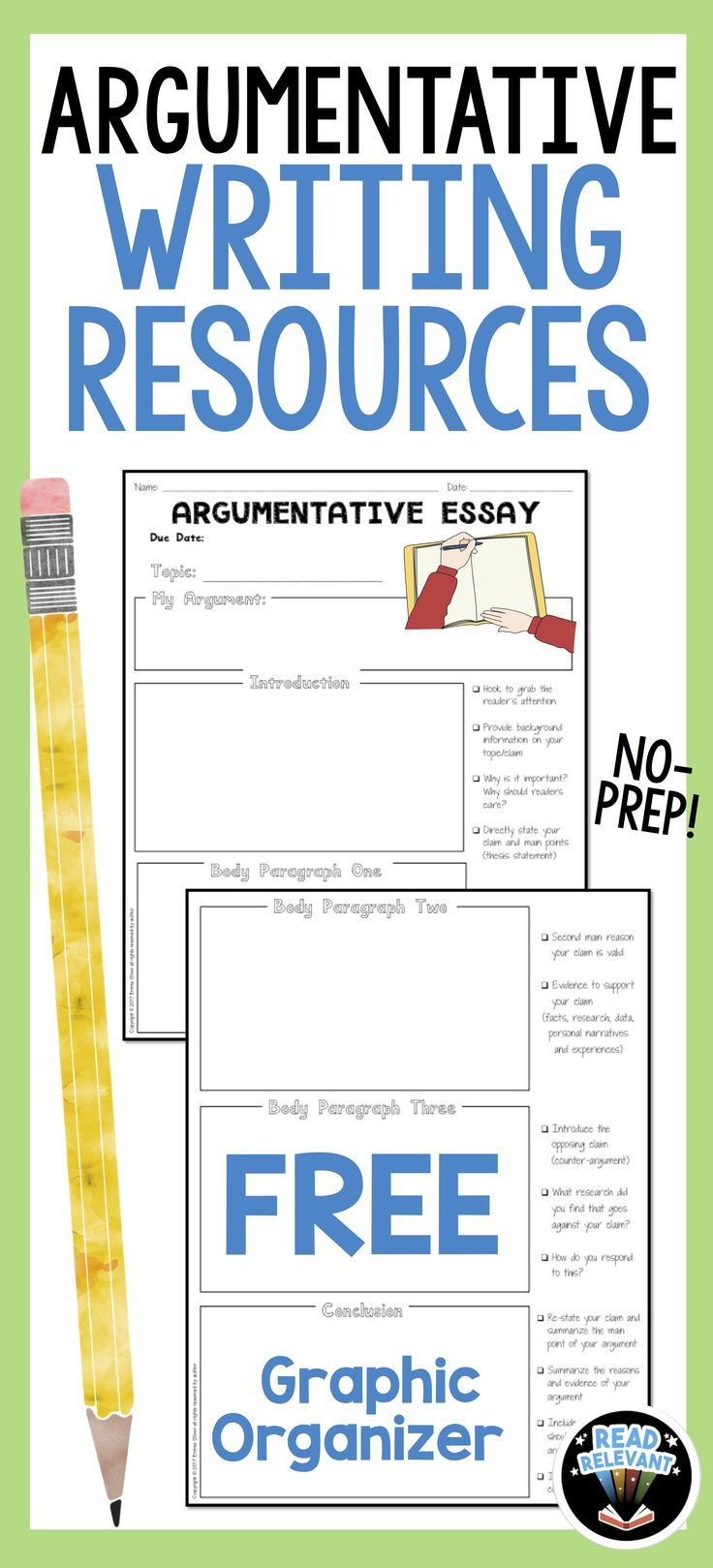 Click to get a free graphic organizer with writing checklist for planning and pre-writing of argumentative or persuasive essays!