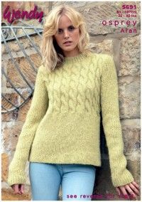 Cable Peplum Sweater and Scarf in Wendy Osprey Aran (5691) Digital Version