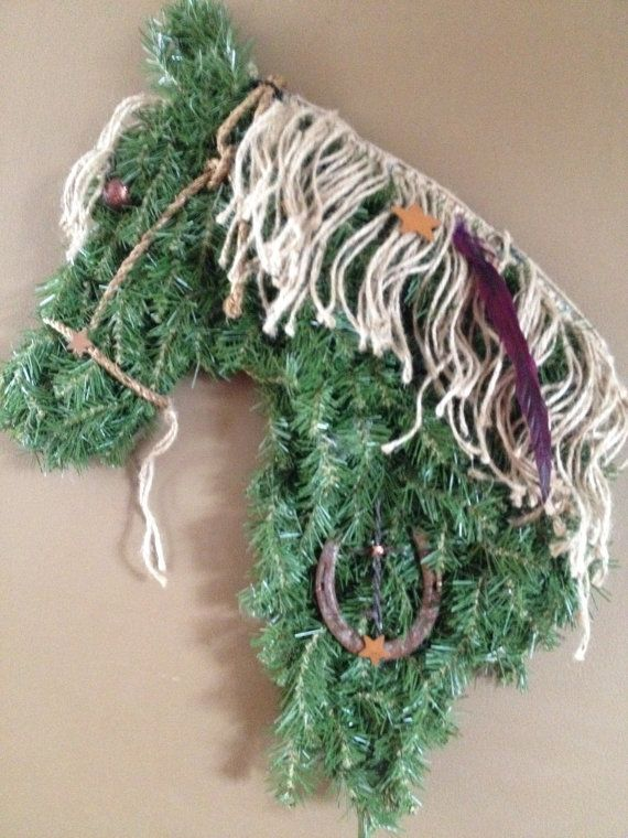 Beautiful one of a kind horsehead wreaths made by Whinnys4yourdoor, $30.00