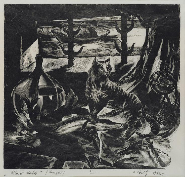 IESPIEDGRAFIKA Oļģerts Ābelīte. Klusā daba. Kauguri. 1962. Papīrs, kokgrie…