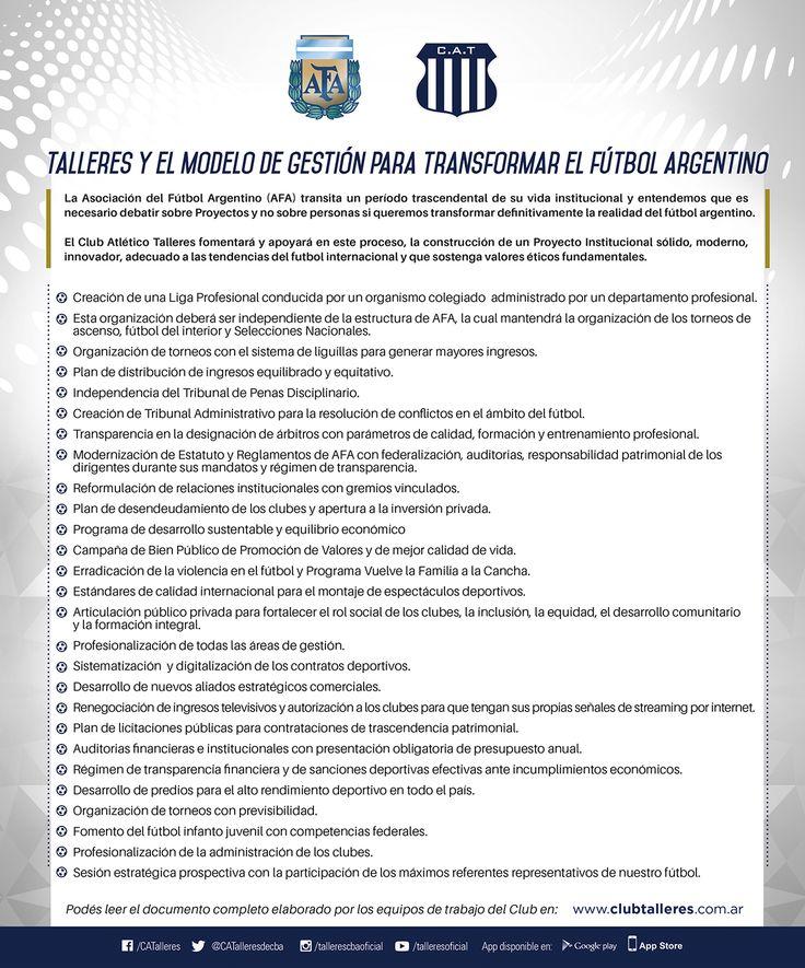 Talleres y el modelo de gestión para transformar el fútbol argentino Club Atlético Talleres  El Club Atlético Talleres reitera su posición ya expresada públicamente de avanzar hacia un modelo de gestión con un Proyecto Institucional transparente sólido modernoinnovador adecuado a las tendencias del fútbol internacional sostenido en valores éticos fundamentales. Un modelo de gestión que promueva un desarrollo sustentable que jerarquice el desarrollo deportivo profesional la inclusión y…