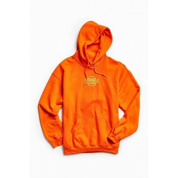 Psychedelic Palm Reader Hoodie Sweatshirt (€47) ❤ liked on Polyvore featuring tops, hoodies, palm tree hoodie, orange hoodies, hoodie pullover, urban outfitters hoodie and graphic hoodies