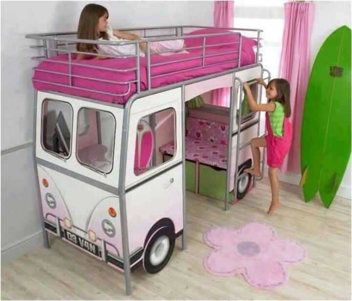 Astonishing Little Girl Bedroom Ideas With Cute Display With White Modern  Bus Shaped Girls Bed Design For Little Girls With Pink Bed And Staircase