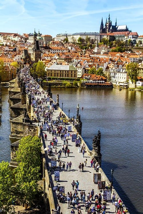 Busy Charles Bridge, Prague Czech Republic
