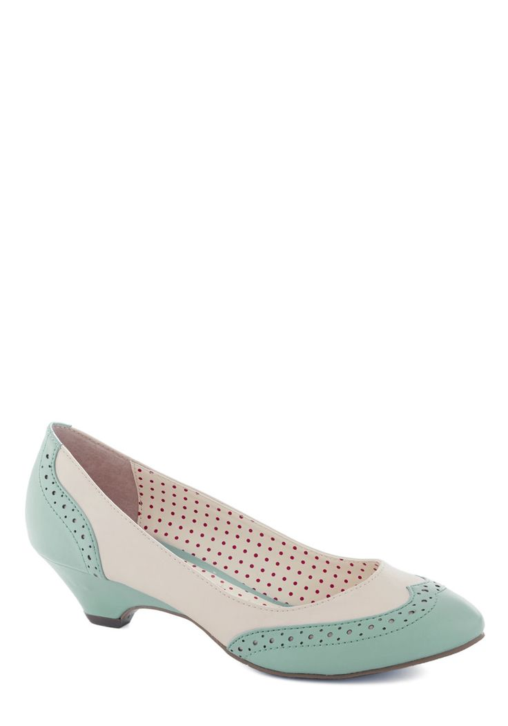 I need these (and all of the other colours..  and the t-bar ones) in my life!!! Sweet Spectator Heel in Mint, @ModCloth