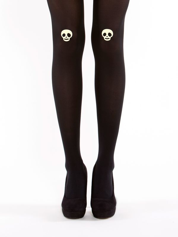 Glow-in-the-dark skull tights! 40 denier, semi-opaque, soft touch microfibre tights.