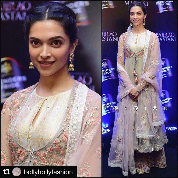 Deepika Padukone in our layered Anarkali featuring an embroidered grey net jacket over a chanderi gold foliage printed kurta  #Repost @bollyhollyfashion with @repostapp  ・・・  @deepikapadukone in @anjumodi at #BPFT2015   #DeepikaPadukone #AnjuModi #Bollywood #Fashion #CelebrityStyle #BajiraoMastani #BlendersPrideFashionTour