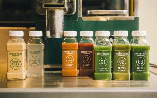 Roots Bulbs, London's first cold pressed juice bar.