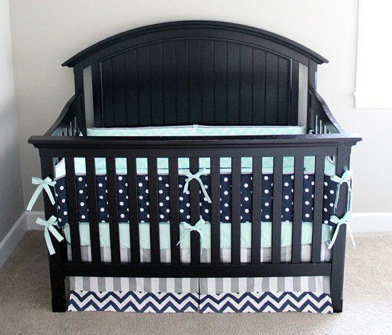 Moderne Kinderbett Bettwäsche Set, Baby Kinderzimmer, Navy