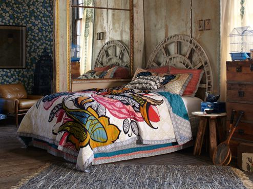 Anthropologie Style In Bedroom,colorful Bedding And Rustic Extra Large  Clock As Head Board