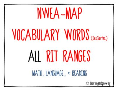 NWEA MAP Vocabulary Word Walls- Test Prep! Enter for your chance to win.  MAP NWEA Vocabulary Word Walls ALL RIT Ranges (Reading, Language, & Math) (56 pages) from LearningandGrowing on TeachersNotebook.com (Ends on on 5-17-2015)  NWEA MAP Vocabulary Word Walls - Test Prep