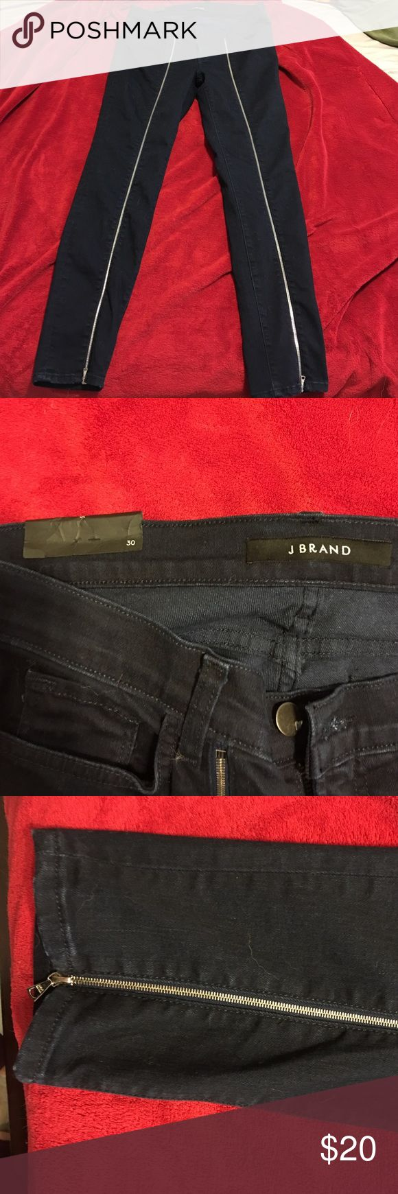 J Brand zipper detail skinny pants Never worn JBrand jeans with zipper detail. J Brand Jeans Skinny