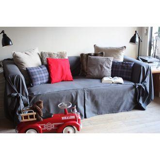 Housse de canapé bachette 3 places 100% coton à nouettes INES