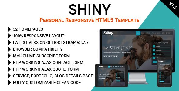shiny  personal responsive html5 template  html5