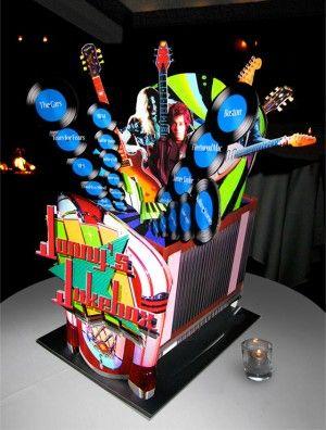 Music & Rock Theme Ideas - Jukebox by Mizrahi Centerpieces - Mazelmoments.com