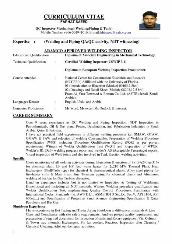 Welding Inspector Resume RESUMES DESIGN Resume Of Welding   Welding Resume  Welder Resume Sample