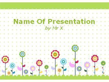Modèle Powerpoint Arrière plan Floral enfantin