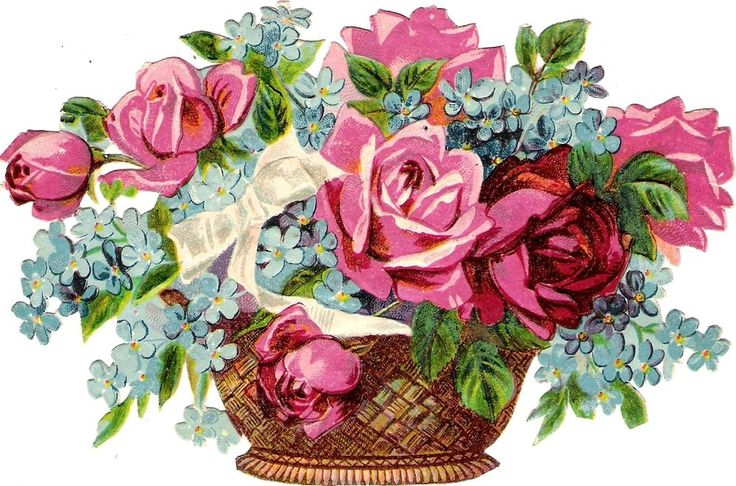 Oblaten Glanzbild scrap die cut  chromo  Blumen Korb  14,5 cm  basket  rose