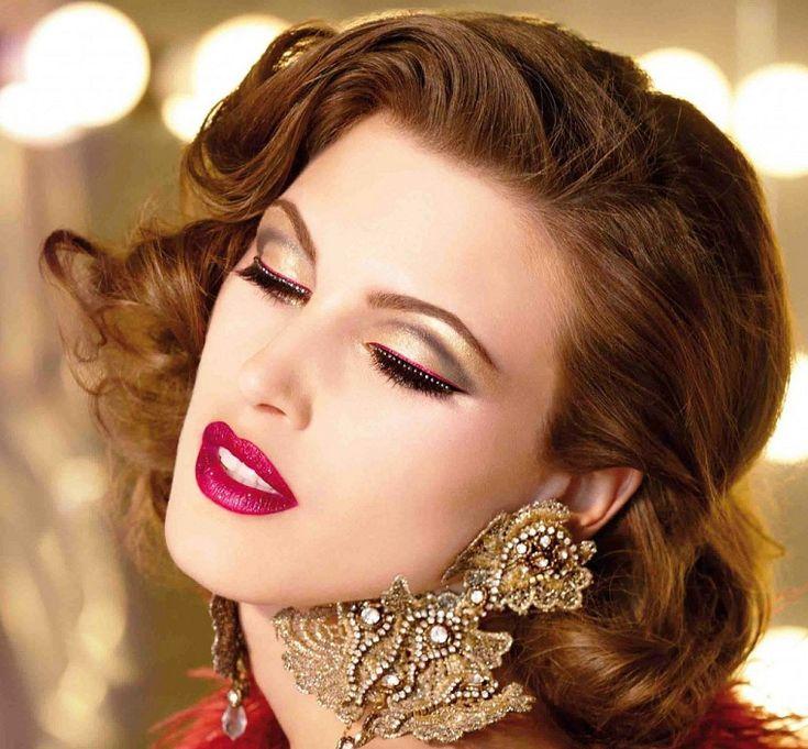 maquillaje de noche en rojo