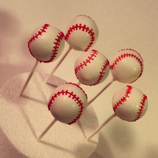 Baseball Cake Pops instead of a grooms cake