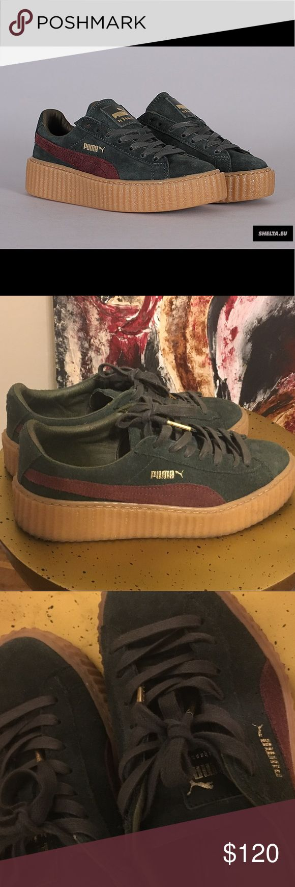 Puma Fenty by Rihanna Worn 2 times size 39 witch is a US 8.9...olive green with dark red on the side ☺️ Puma Shoes Sneakers