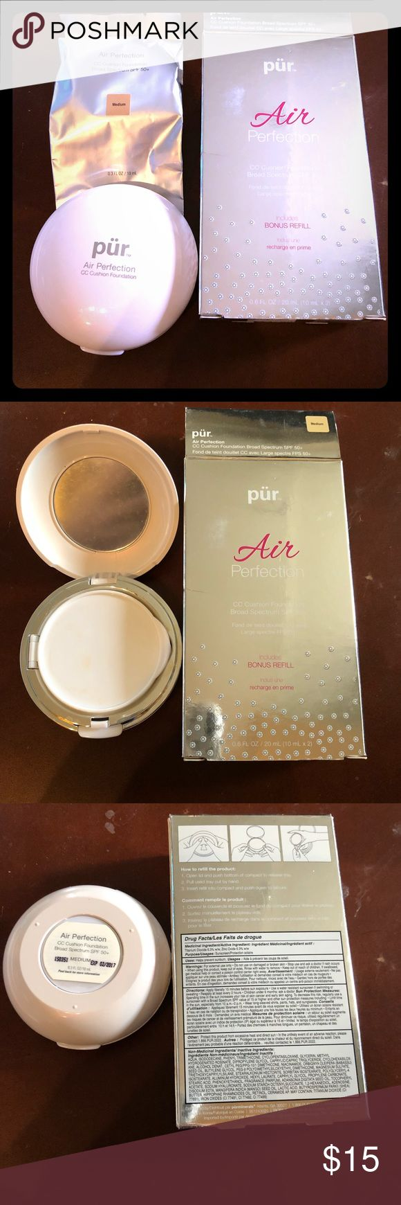 Pur Air Perfection Foundation Med w/ 1 new cushion Pur Air Perfection Foundation Med w/ 1 new cushion.  CC Cushion foundation SPF 50+.  Currently has the one that I tried before and ended up too dark for me.  I will remove the old one and send with sealed Cushion! Pur Minerals Makeup Foundation