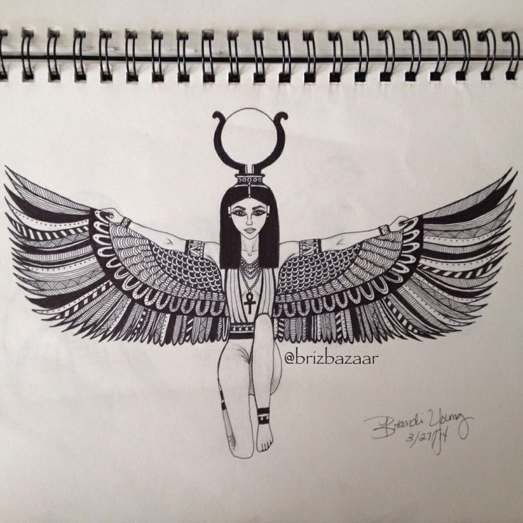 Instagram BrizBazaar #shareIG  Zentangle drawing of Isis. Egyptian. Goddess. Ancient. Religious. Myth. Wings.