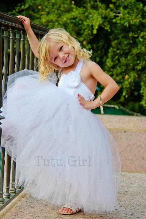 05592fee6624 Bianco Tutu vestito ragazza di fiore