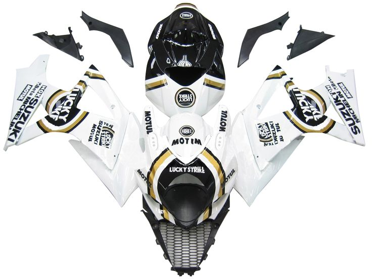 Mad Hornets - Fairings Suzuki GSXR 1000 White Black Gold Lucky Strike Racing  (2007-2008), $599.99 (http://www.madhornets.com/fairing-bodywork-for-suzuki-gsxr-1000-white-black-gold-lucky-strike-racing-2007-2008/)